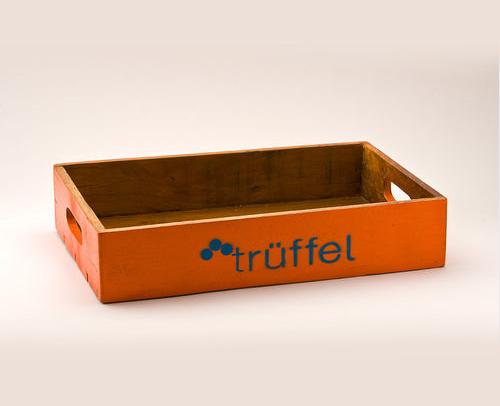 Holz Tablett Orange